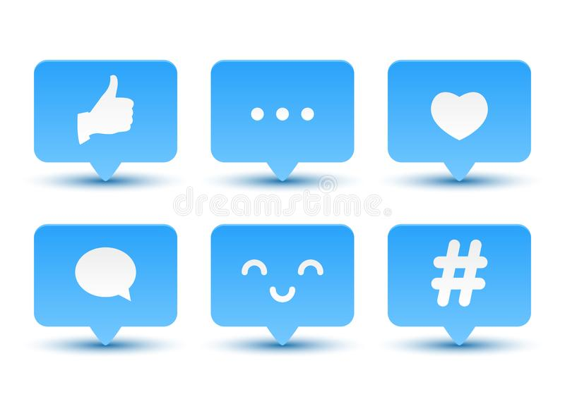 Set of social media icons stock illustration