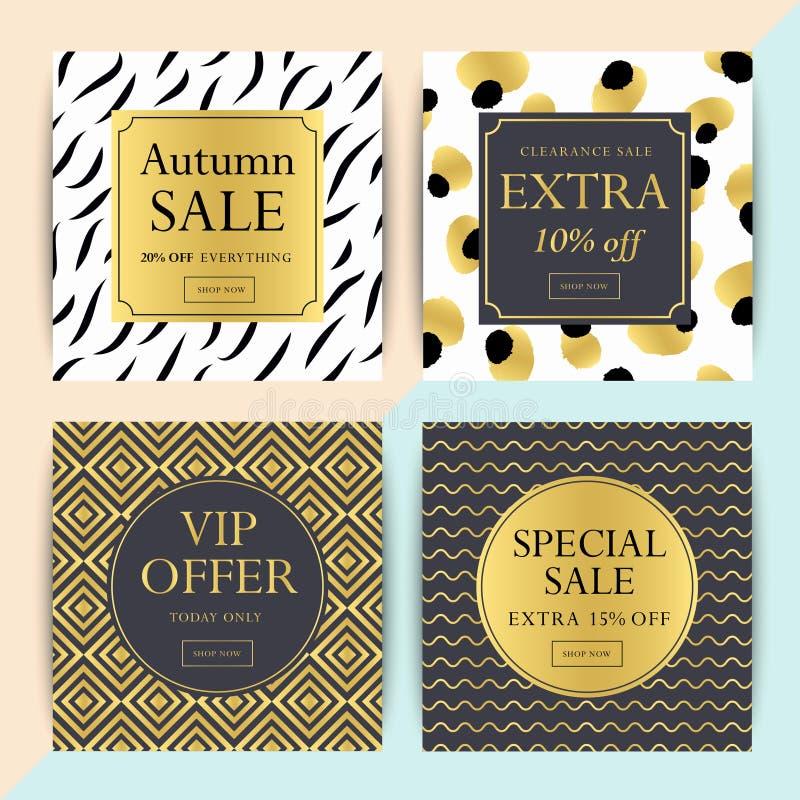 Set of social media or online shop banner design . Trendy geomet. Ric vector ad sale and clearance backgrounds stock illustration
