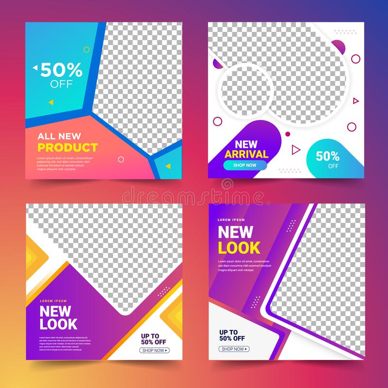 Set of social media Post Template Banner stock images