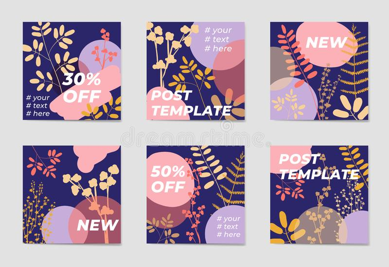 A set of social media post templates. For personal and business accounts. Blue background with geometric elements, drawn plants and a position for photography stock illustration