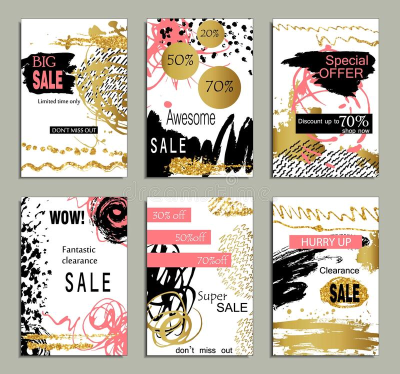Set of social media sale website and mobile banner templates with golden texture. Vector banners, posters, flyers, email stock illustration