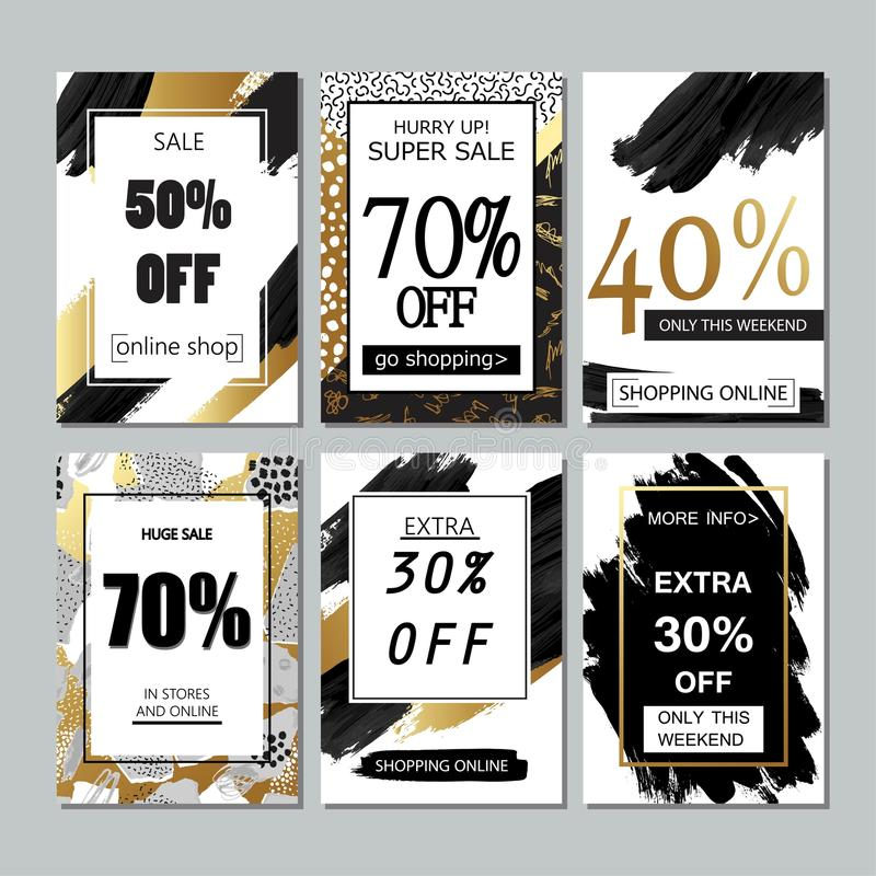 Set of social media sale website and mobile banner templates with golden texture. Vector banners, posters, flyers. royalty free illustration