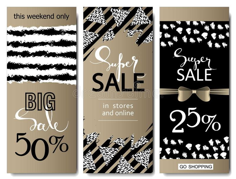 Set of social media sale website and mobile banner templates with golden texture. Vector banners posters flyers email. Newsletter ads promotional material stock illustration