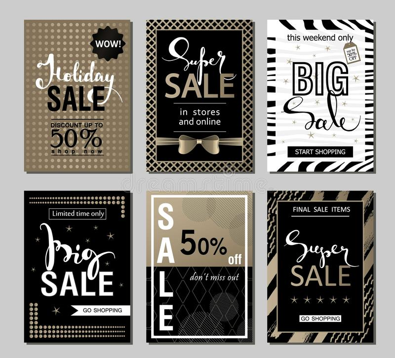 Set of social media sale website and mobile banner templates with golden texture. Vector banners posters flyers email. Newsletter ads promotional material royalty free illustration