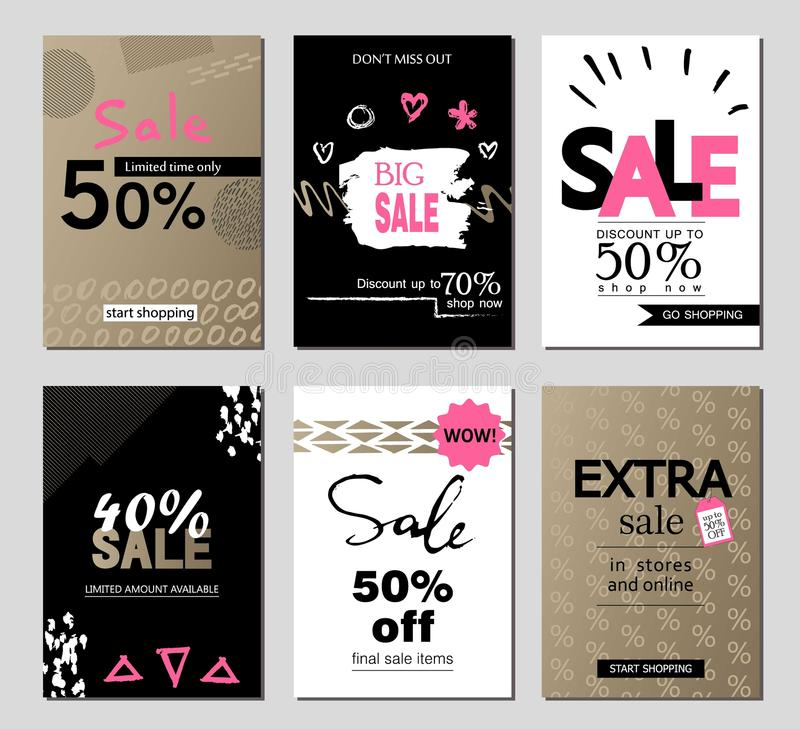 Set of social media sale website and mobile banner templates. Vector banners, posters, flyers, email, newsletter, ads. Promotional material. Typography royalty free illustration