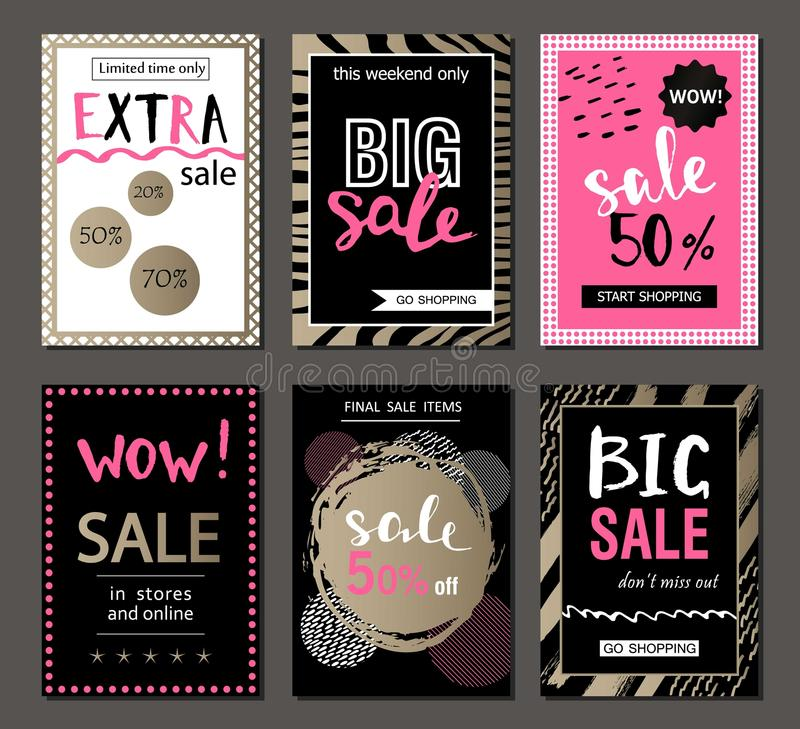 Set of social media sale website and mobile banner templates. Vector banners, posters, flyers, email, newsletter, ads, promotional material. Typography stock illustration