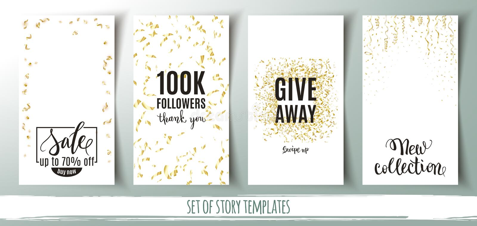 Set of social media story templates, banners with gold confetti background and shopping messages, vector illustration vector illustration