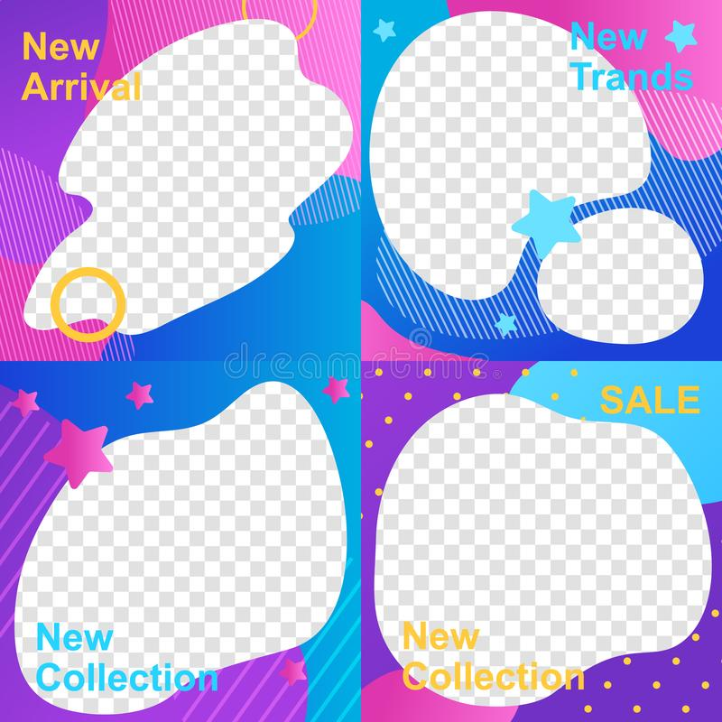 Set Social Media Template in Color Abstract Design royalty free illustration