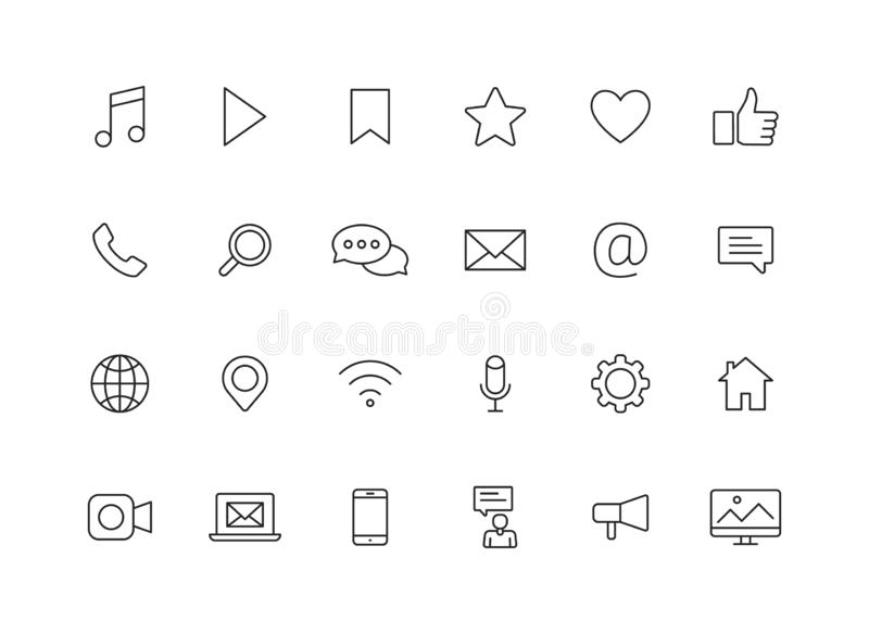 Set of 24 Social Media web icons in line style. Contact, digital, social networks, technology, website. Vector illustration stock illustration