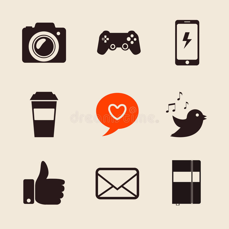 Set of social network icons vector illustration with like hand, mail, heart, foto camera, PS joystick, coffee cup, iphone stock illustration