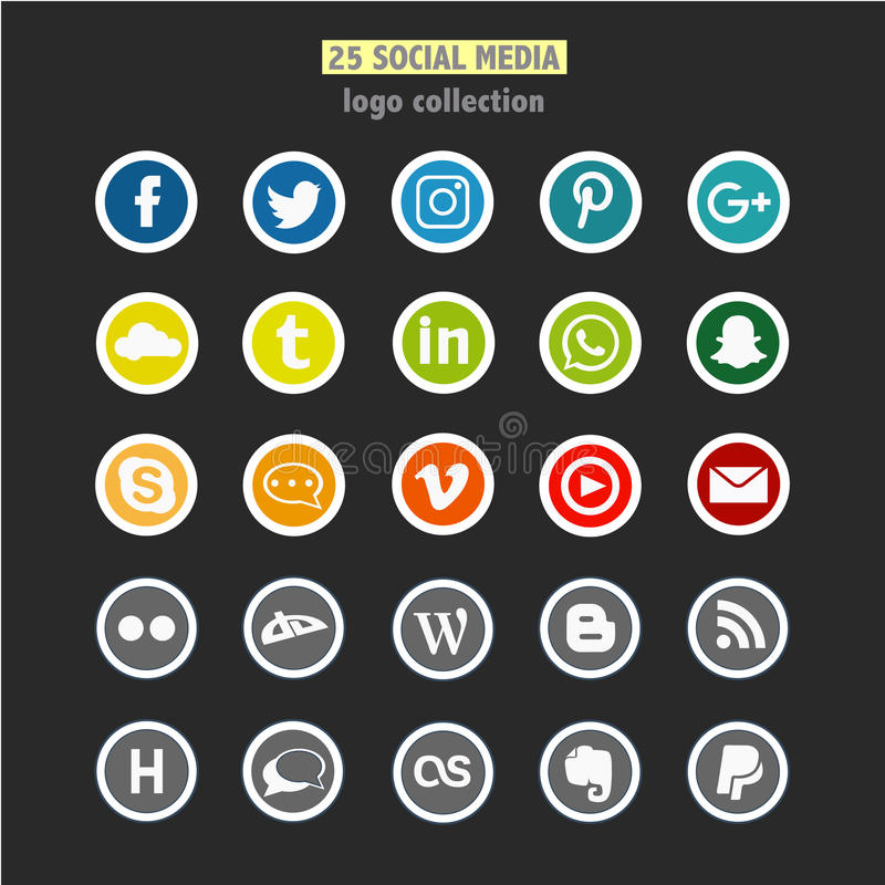 A set of 25 social network logos stock photos