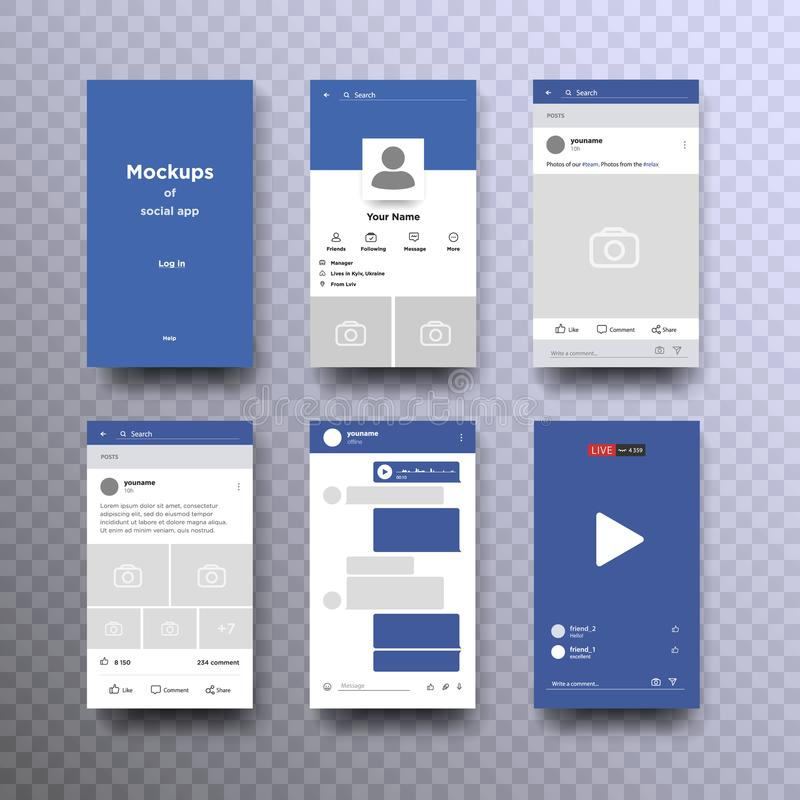 Set of social network photo, post frames. And other pages vector illustration. Inspired by Facebook and other social resources. Mock up Vector illustration royalty free illustration