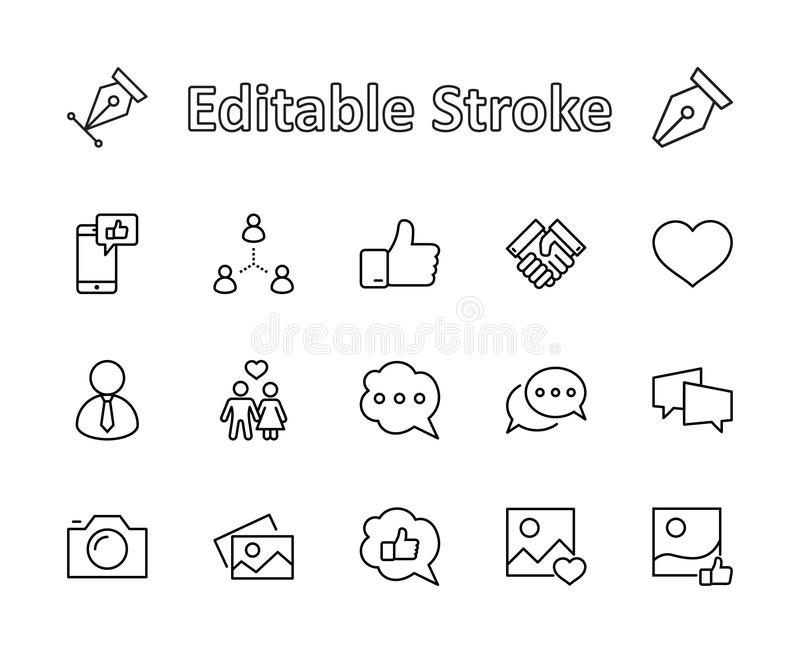 Set of Social Networks Related Vector Line Icons. Contains such Icons as Profile Page, Rating, Social Links and more royalty free stock photo