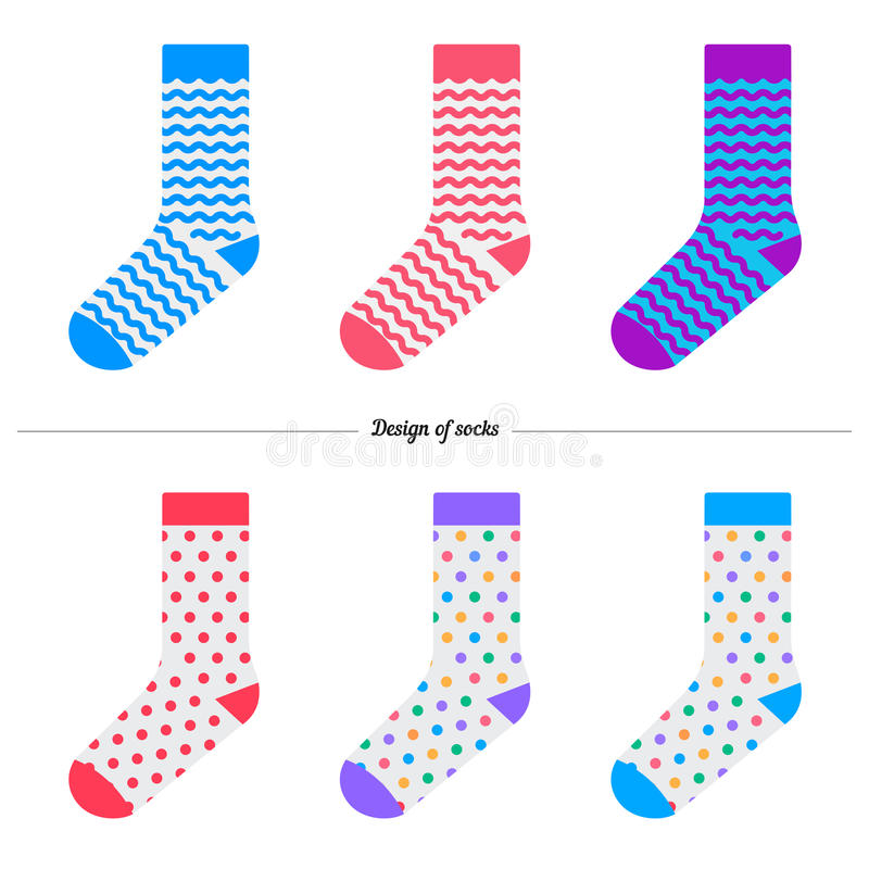 65dc946e2ae3 Set of socks. Original design royalty free illustration