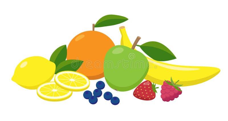 Set soczyste owoc i jagody grupujący w płaskim projekcie Witaminy pojęcia karmowa wektorowa ilustracja odizolowywająca na bielu ilustracja wektor