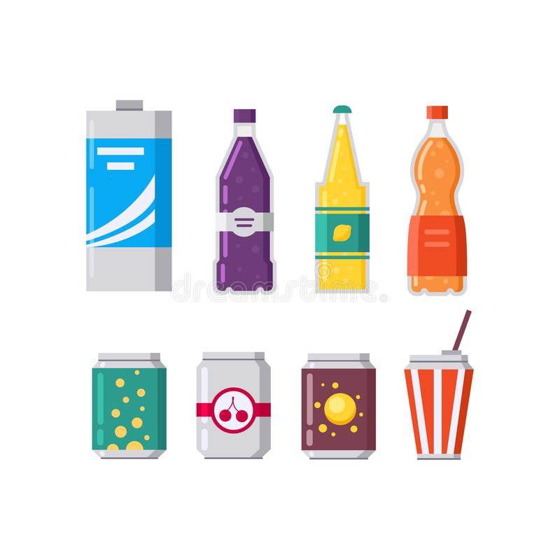 Set of soda drinks and juice in plastic and aluminum packaging vector illustration. royalty free stock images