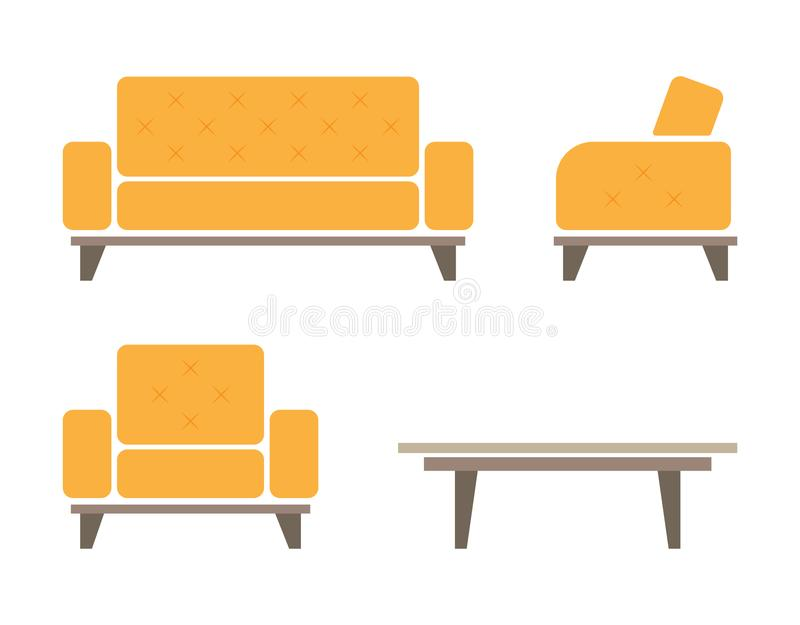 Set of sofa and armchair. Isolated against white background. vector illustration royalty free illustration