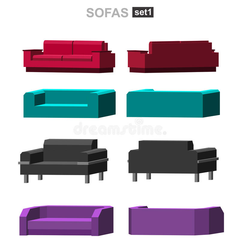 Vector Of Living Room Stock Vector Image Of Sofa: Set Of The Sofa Stock Vector. Illustration Of Isometric