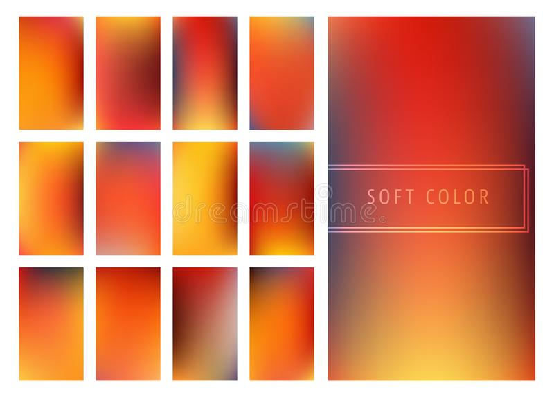 Set of soft color gradients background stock illustration