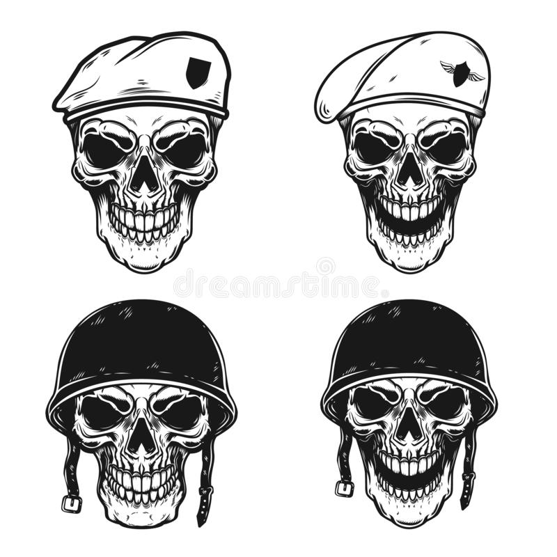 Set of soldier skull in battle helmet and paratrooper beret. Design element for logo, label, emblem, sign, poster, t shirt. stock illustration