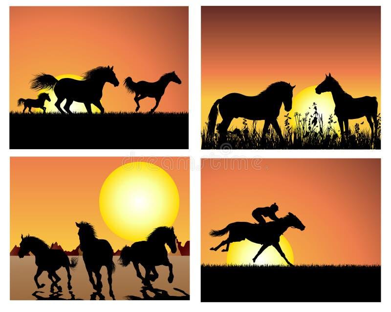 set solnedgång för bakgrundshäst stock illustrationer