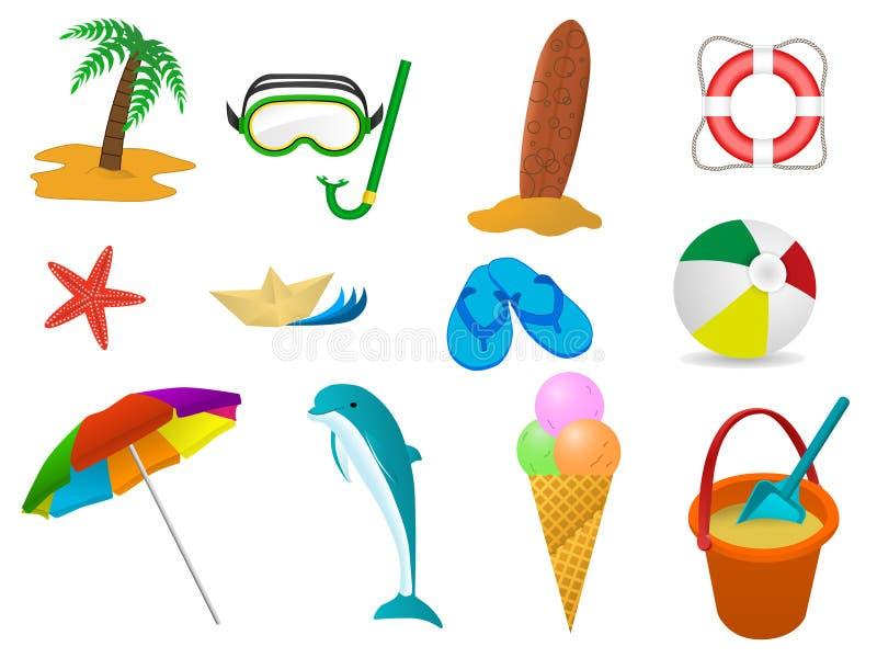 set sommar för feriesymbolshav vektor illustrationer