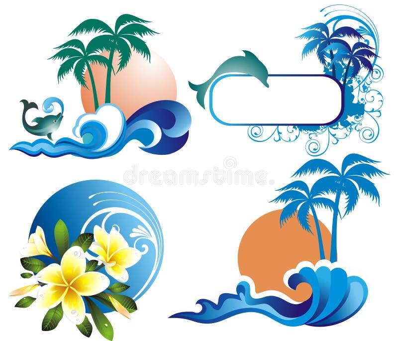 set sommar för illustration stock illustrationer