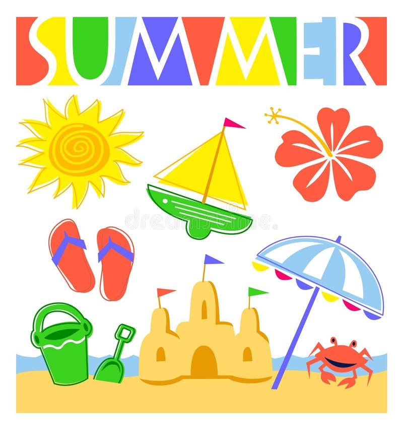 set sommar för strandeps royaltyfri illustrationer
