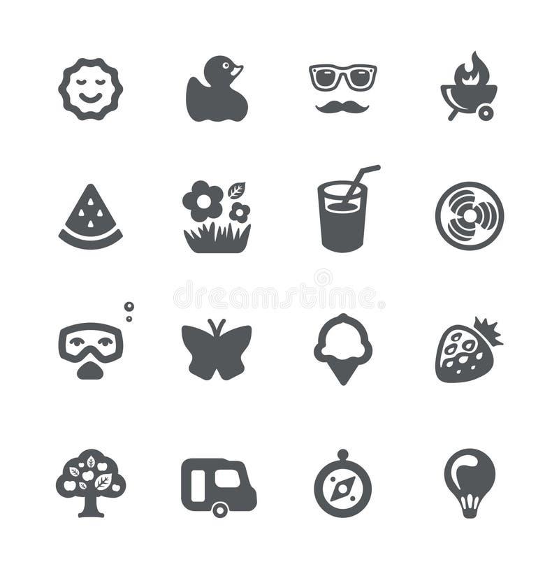 set sommarsemester för symbol stock illustrationer