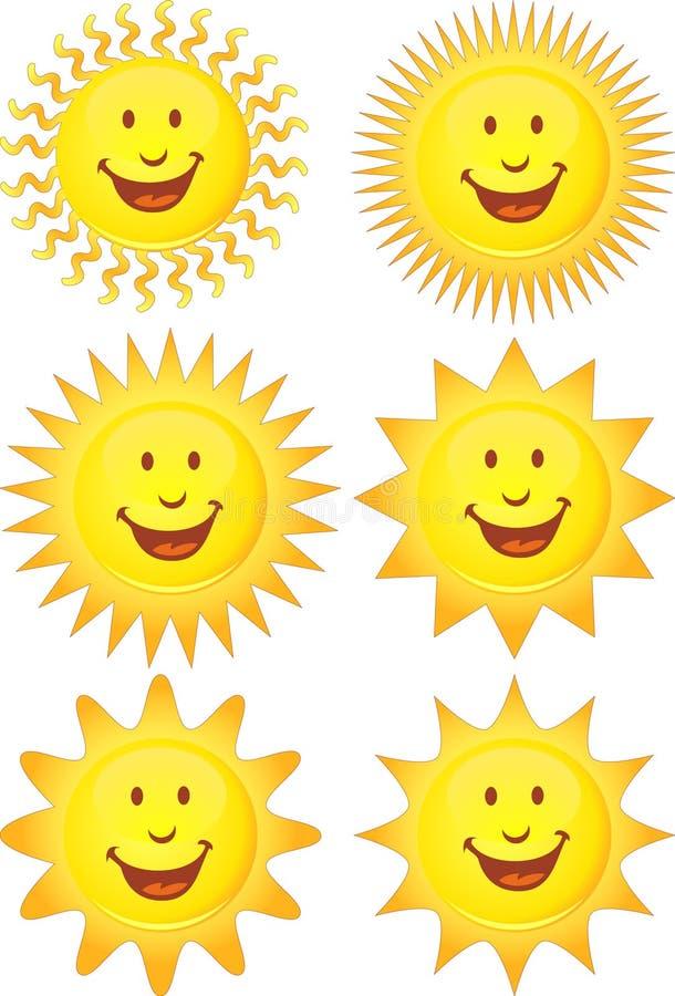Set Sonnen 3D lizenzfreie abbildung