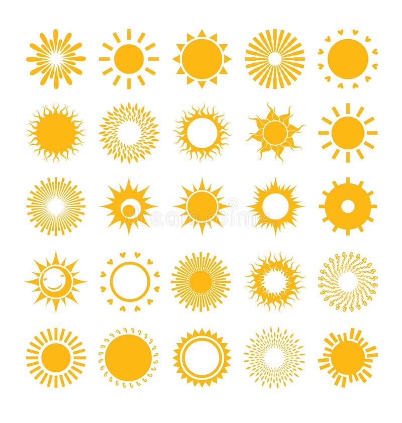 Set Sonnen lizenzfreie abbildung