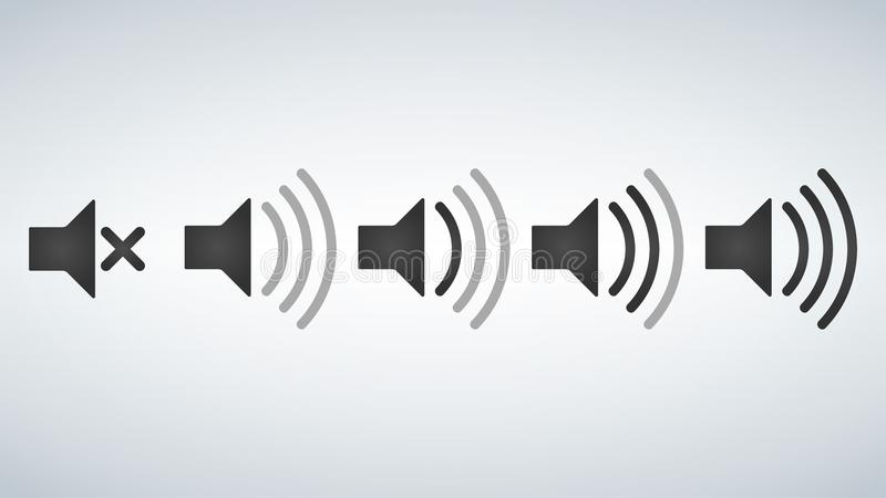 Set of Sound Icons Vector Design Flat Style Volume levels. vector illustration