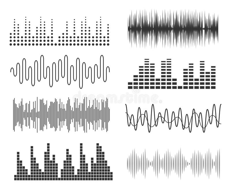 Set of sound music waves. Audio technology musical pulse or sound charts. Music waveform equalizer. Set of sound music waves. Audio technology musical pulse or vector illustration