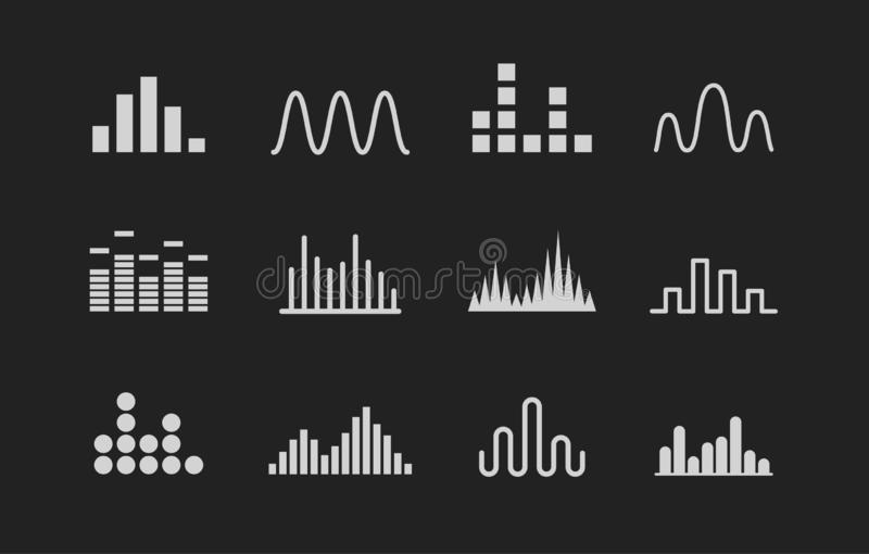 Set of Sound wave logo. Music wave white icons on black background. Vector illustration. vector illustration