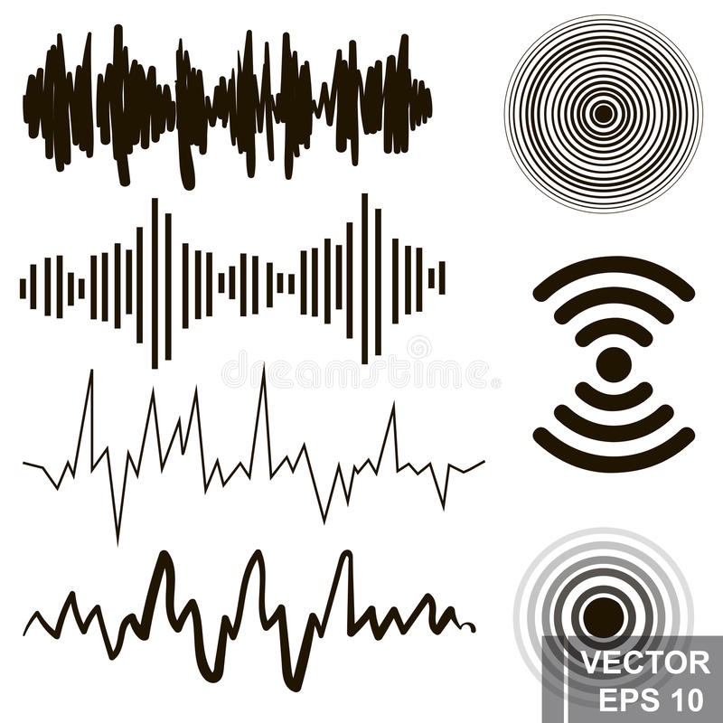 Set of sound waves. Lines. Icons isolated on white background. Set of sound waves and round vector illustration