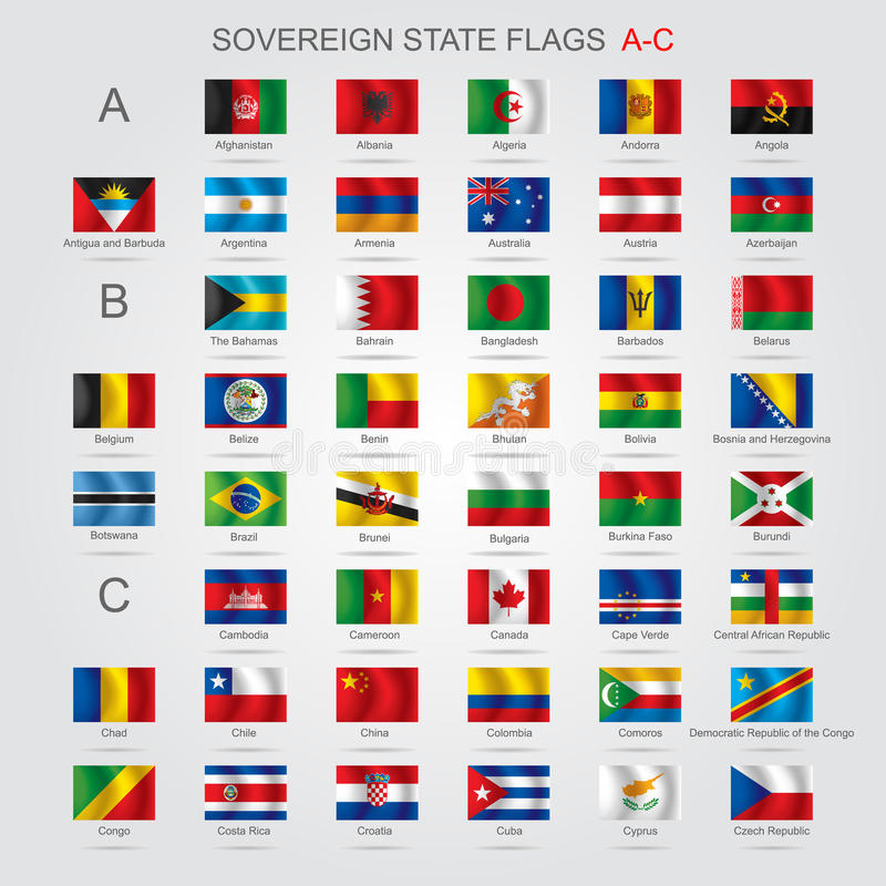Set of sovereign state flags A-C. Set of world sovereign state and flags with captions in alphabet order. There is in addition a vector format (EPS 8 vector illustration