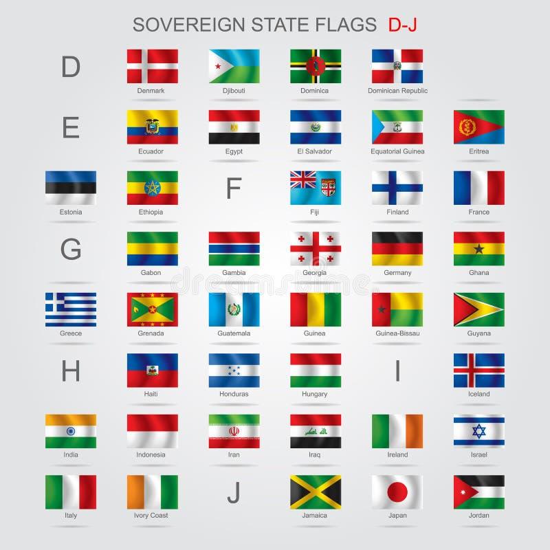 Set of sovereign state flags D-J stock illustration