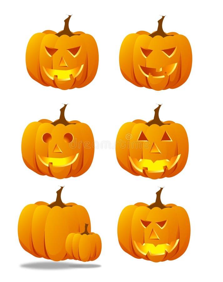 set spöklikt för halloween pumpa royaltyfri illustrationer