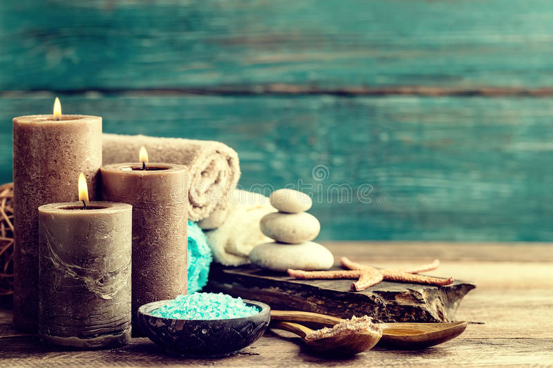 Set for spa treatments with cosmetic products for body care and relaxation royalty free stock photography