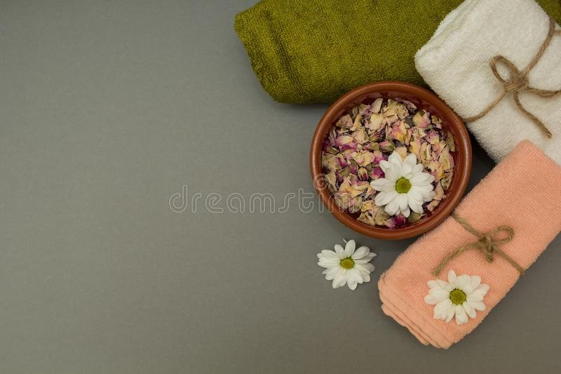 Set for spa, white flowers royalty free stock photography
