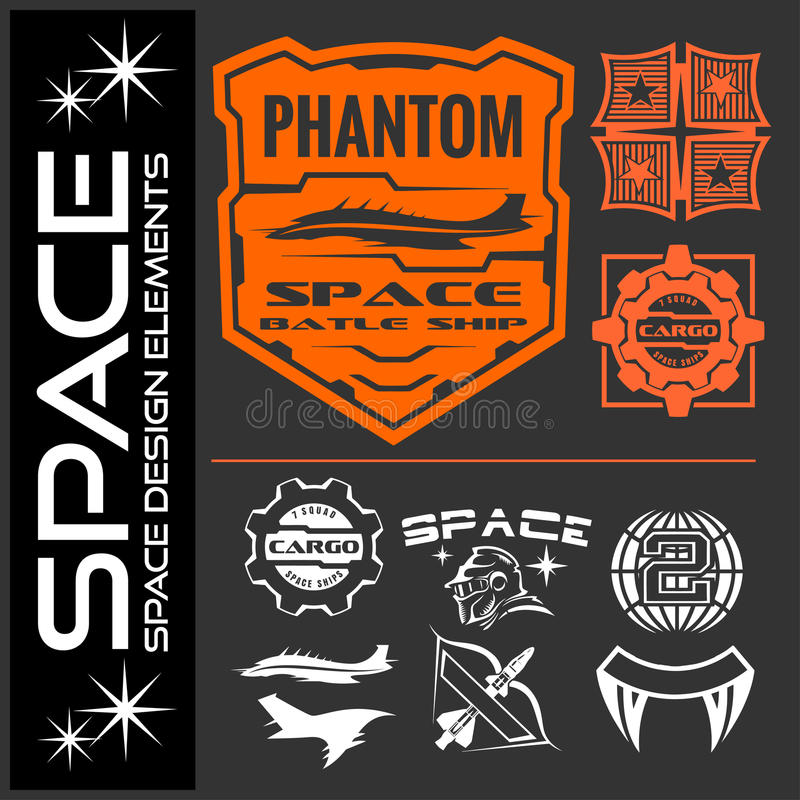 Set of space astronaut badges, emblems, labels and design elements. royalty free illustration