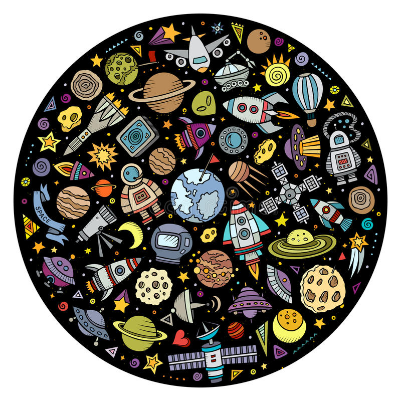 Set of Space cartoon doodle objects vector illustration