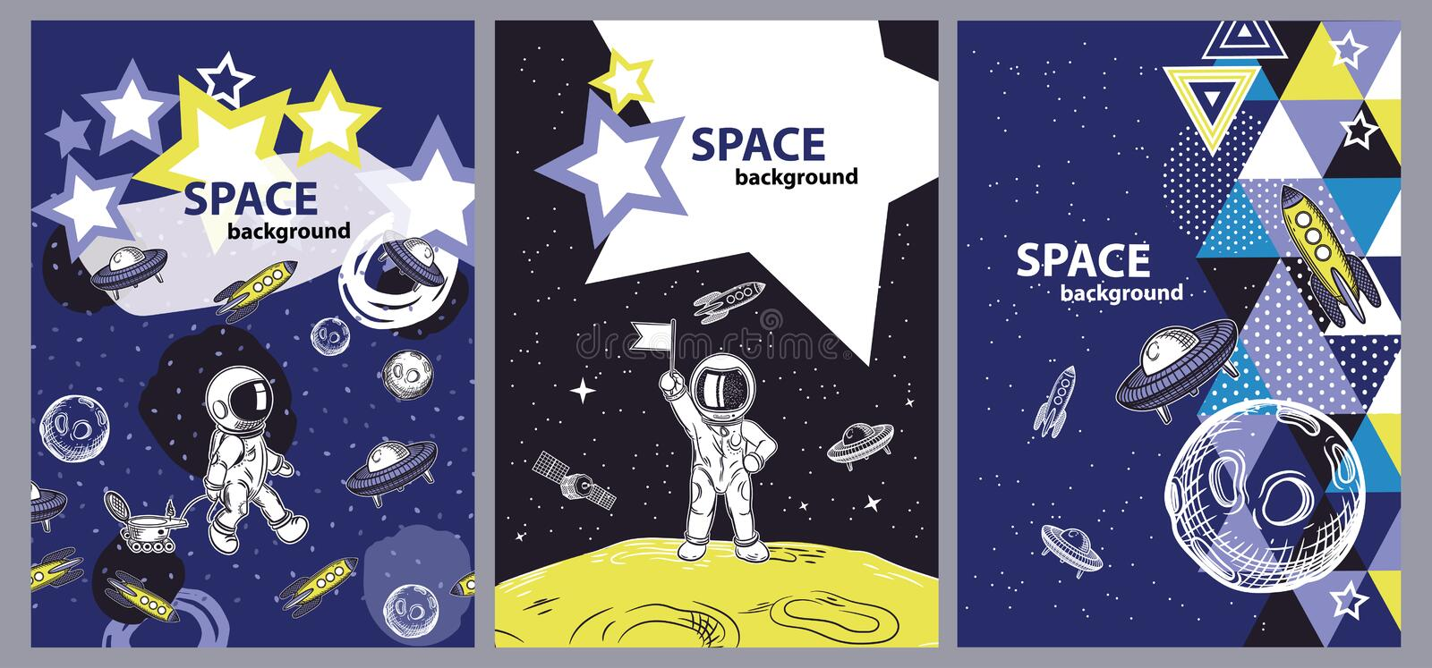 Set of space cover templates. Space objects. vector illustration