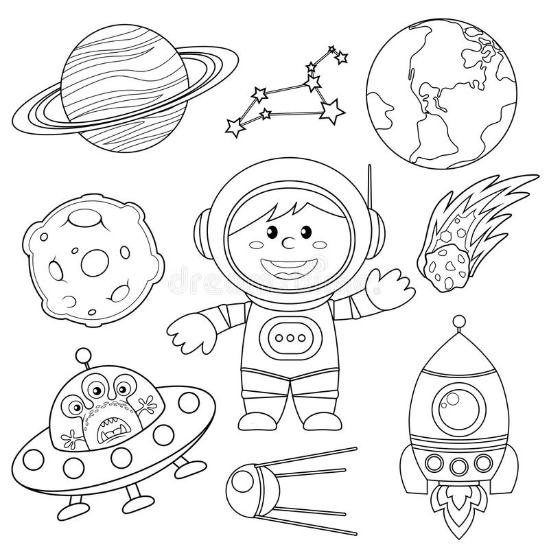 Set of space elements. Astronaut, Earth, saturn, moon, UFO, rocket, comet, constellation, sputnik and stars. Black and white illustration for coloring book stock illustration