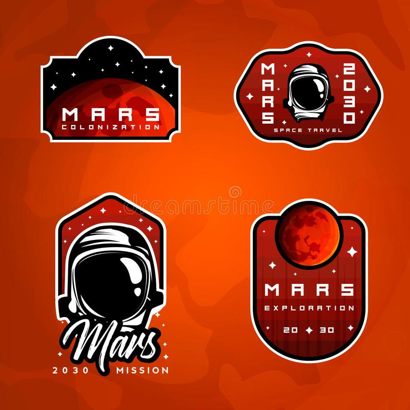 Set of space exploration badges. Flight to Mars stickers vector illustration
