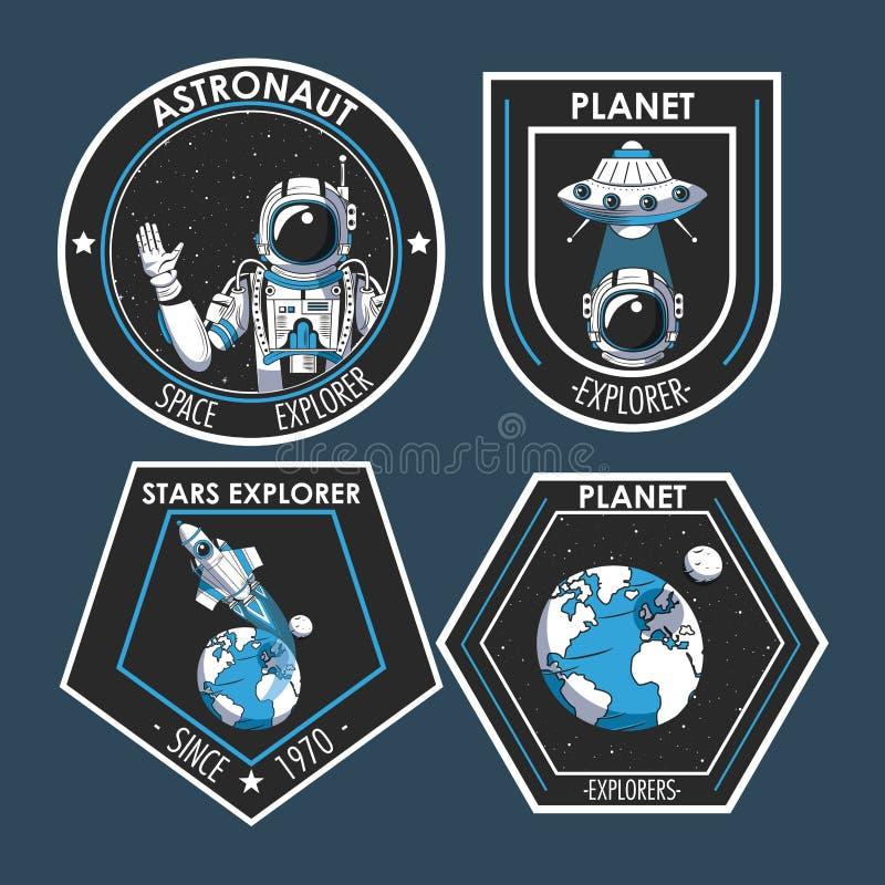 Set of Space explorer patches emblems design vector illustration