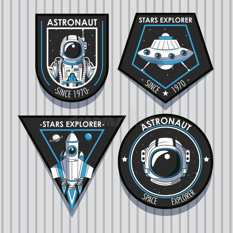 Set of Space explorer patches emblems design stock illustration