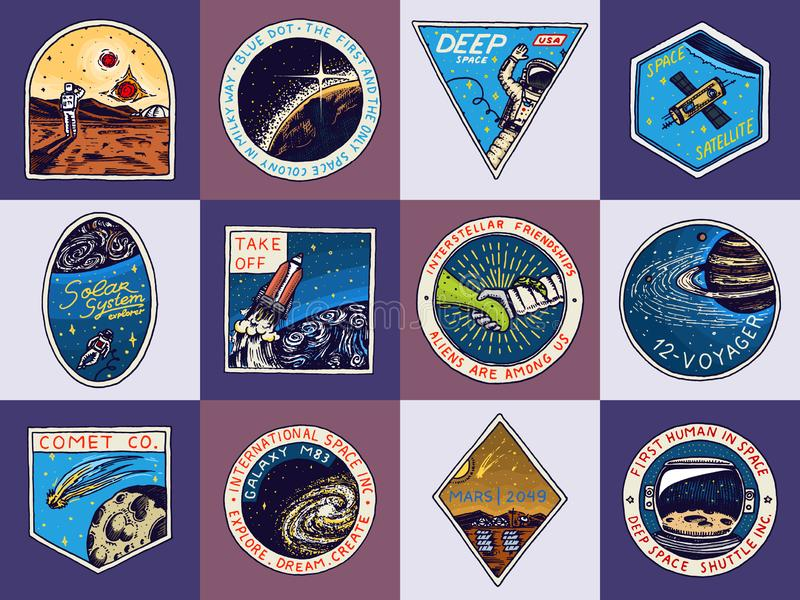 Set of Space logo. Human mission to Mars. Exploration of the astronomical galaxy. Astronaut or spaceman adventure stock illustration