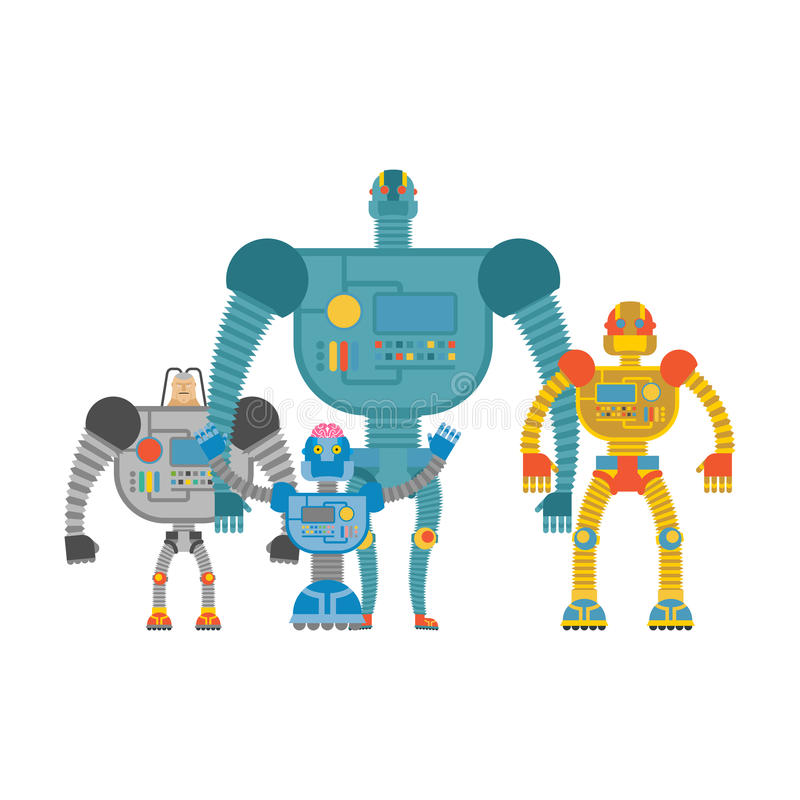 Set space robots. Cyborgs invaders. Humanoid machines with artif. Icial intelligence and iron body stock illustration