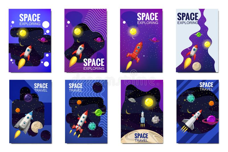 Set space rocket travel cards, exploration of the universe, other planets, flying rockets, stars of distant galaxies vector illustration